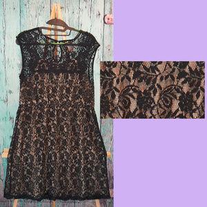 Black lace shift dress with elastic cinch waist